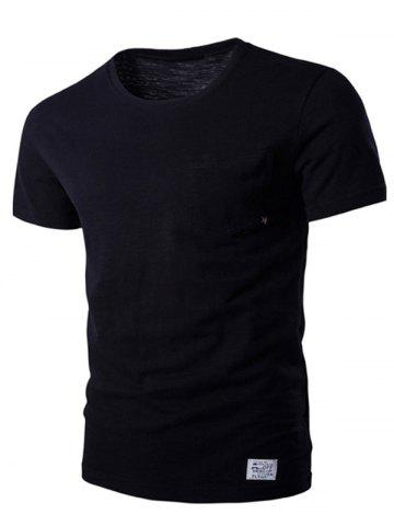 Outfit Breast Pocket Metal Star Embellished Round Neck Short Sleeve T-Shirt For Men