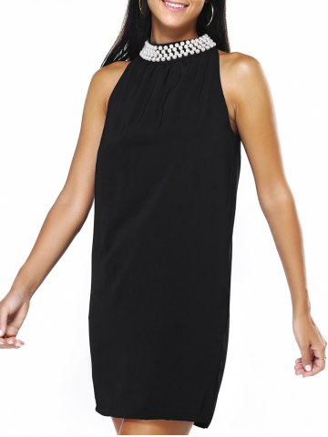 Affordable Graceful Women's Round Neck Beaded Black Dress - XL BLACK Mobile