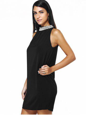 Trendy Graceful Women's Round Neck Beaded Black Dress - L BLACK Mobile