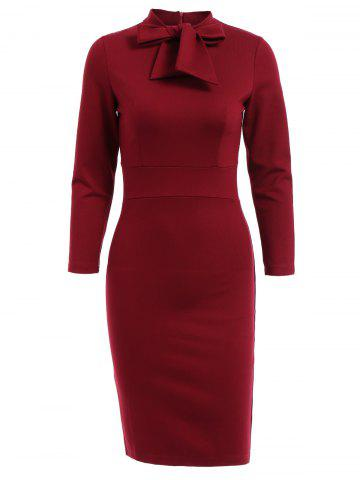 Latest OL Style 3/4 Sleeve Pure Color Bodycon Dress For Women