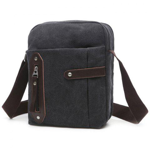 Outfits Leisure Zippers and Canvas Design Messenger Bag For Men BLACK