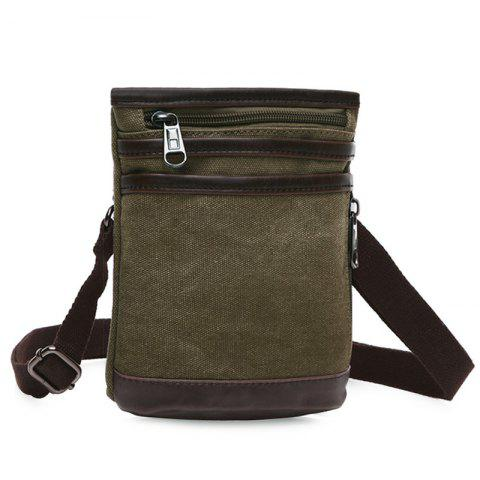 Affordable Simple Splicing and Zipper Design Messenger Bag For Men