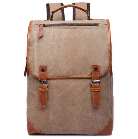 Shops Stylish Color Block and Double Buckle Design Backpack For Men KHAKI