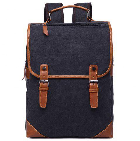 Sale Stylish Color Block and Double Buckle Design Backpack For Men - BLACK  Mobile