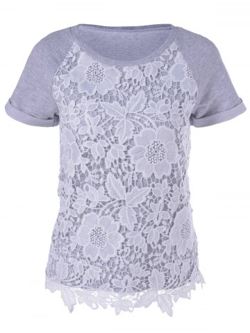 New Fashionable Short Sleeves Round Neck Lace Splicing T-Shirt For Women