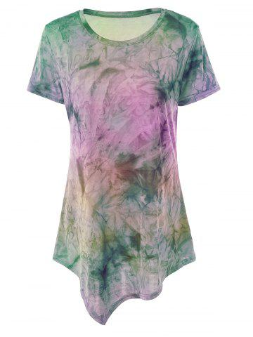 Hot Asymmetrical Long Tie Dye T-Shirt PINK AND PURPLE XL