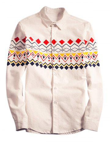 Shop National Wind Geometric Print Long Sleeve Shirt For Men