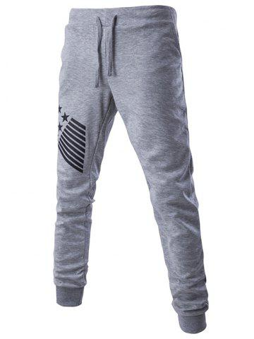 Discount Lace-Up Stripes and Star Pattern Jogger Pants