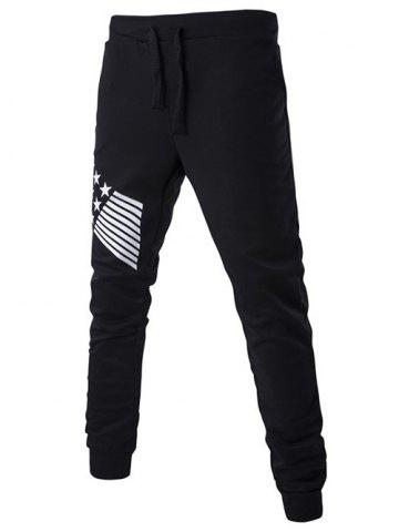 Best Lace-Up Stripes and Star Pattern Jogger Pants BLACK 2XL