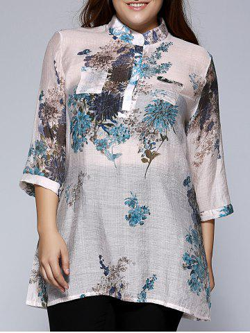 Sale Oversized Ethnic Stand Collar Floral Print Blouse