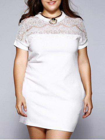 Unique Plus Size Brief Lace Patchwork Baggy Dress WHITE 5XL