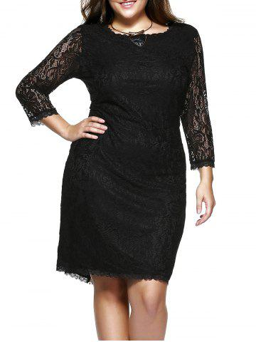 Shop Plus Size 3/4 Sleeve Solid Color Knee-Length Lace Dress - 3XL BLACK Mobile