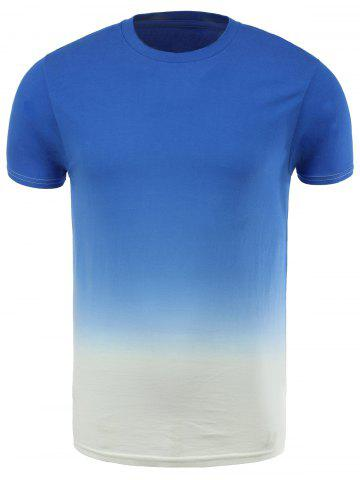 Affordable Cotton Blends Ombre Short Sleeve Round Neck T-Shirt
