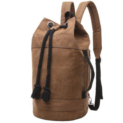 Latest Simple Canvas and Drawstring Design Backpack For Men - COFFEE  Mobile