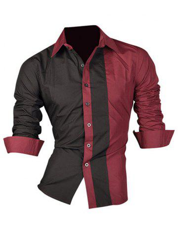 Color Block Splicing Design Turn-Down Collar Long Sleeve Shirt For Men - WINE RED XL