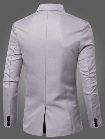 Trendy Casual Lapel Collar Double Breasted Flap-Pocket Design Blazer For Men - GRAY M Mobile