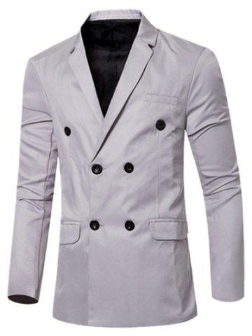 Fancy Casual Lapel Collar Double Breasted Flap-Pocket Design Blazer For Men - GRAY M Mobile
