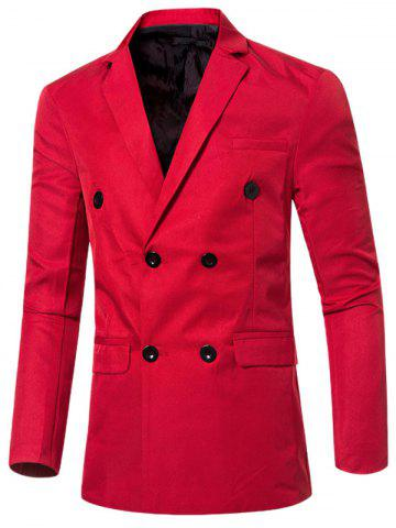 Fancy Casual Lapel Collar Double Breasted Flap-Pocket Design Blazer For Men - RED L Mobile