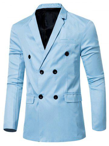 Latest Casual Lapel Collar Double Breasted Flap-Pocket Design Blazer For Men - LIGHT BLUE L Mobile