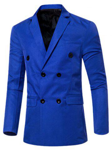 Hot Casual Lapel Collar Double Breasted Flap-Pocket Design Blazer For Men SAPPHIRE BLUE 3XL
