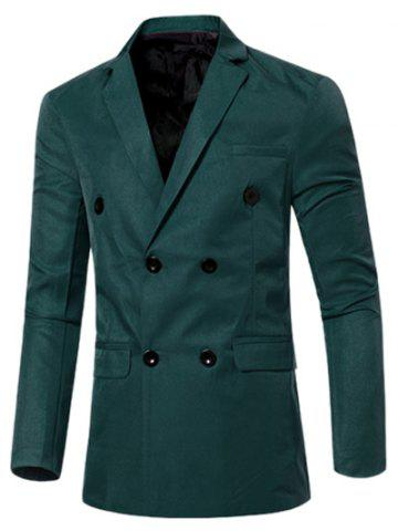 Discount Casual Lapel Collar Double Breasted Flap-Pocket Design Blazer For Men - 3XL BLACKISH GREEN Mobile