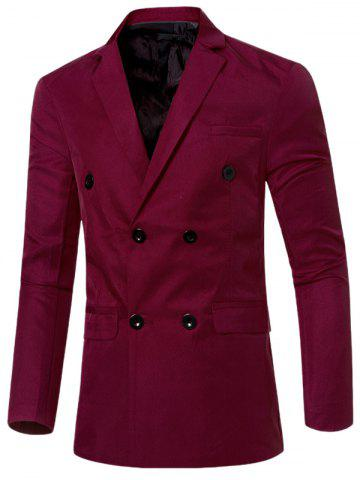 Trendy Casual Lapel Collar Double Breasted Flap-Pocket Design Blazer For Men - WINE RED XL Mobile