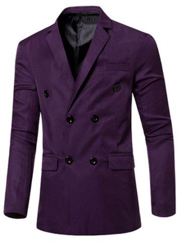 New Casual Lapel Collar Double Breasted Flap-Pocket Design Blazer For Men PURPLE L