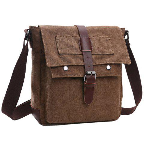Shop Concise Color Block and Buckle Design Messenger Bag For Men