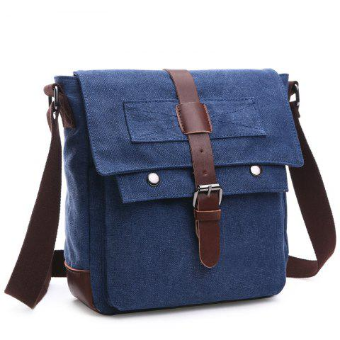 Outfit Concise Color Block and Buckle Design Messenger Bag For Men DEEP BLUE