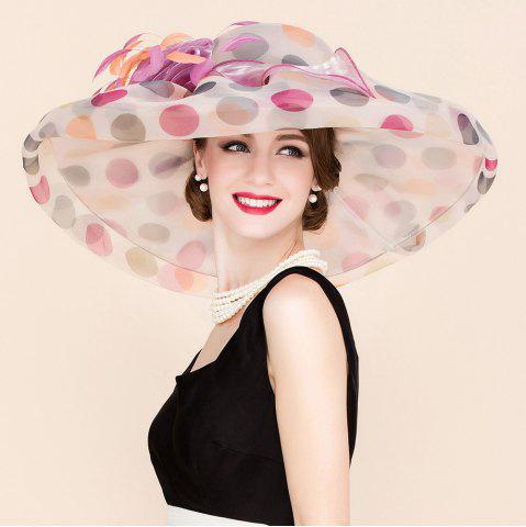 Affordable Big Polka Dot Wedding Party Church Big Floppy Sun Hat WHITE