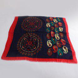 Chic Ethnic Paisley and Flower Pattern Colorful Pashmina For Women - CADETBLUE
