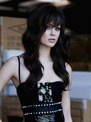 Elegant Long Mixed Color Side Bang Wave Trendy Heat Resistant Synthetic Wig For Women -