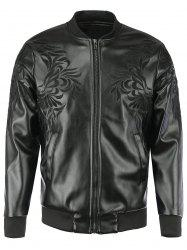 Floral Embroidered Stand Collar Faux Leather Jacket For Men -