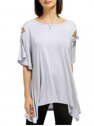 Casual Solid Color Shoulder Cut Out Tied Pullover T-Shirt For Women