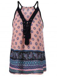 Ethnic Lace Up Spaghetti Strap Tank Top For Women -