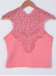 Fashionable V-Neck Lace Spliced Top For Women -