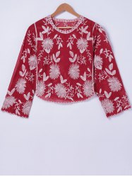 Stylish Floral Embroidery RoundNeck Blouse For Women -