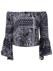 Ethnic Off The Shoulder Bell Sleeves Crop Top For Women -