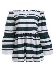 Stylish Stripe Off The Shoulder Ruffle Blouse For Women -