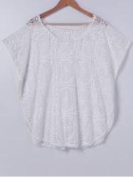 Stylish Scoop Neck Lace Cover Up For Women -