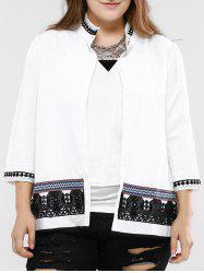 Sweet Stand Collar Lace Decorated 3/4 Sleeve Plus Size Blouse For Women