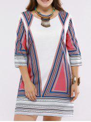Refreshing Scoop Neck Geometric Print 3/4 Sleeve Plus Size Dress For Women