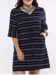 Ethnic Style Flounce Sleeve Plus Size Striped Dress For Women -