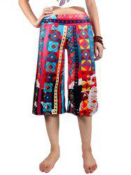 Casual Elastic Waist Geometric Print Women's Wide Leg Pants -