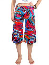 Casual Elastic Waist Abstract Print Women's Wide Leg Pants