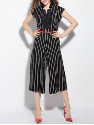 Elegant High-Waisted Striped Women's Jumpsuit