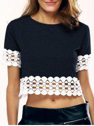 Simple Women's Crochet-Trim Spliced Crop Top -