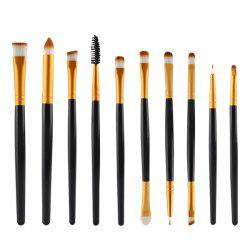 Stylish 10 Pcs Multifunction Nylon Eye Makeup Brushes Set - BLACK