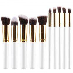 Stylish 10 Pcs Multifunction Soft Fiber Face Eye Makeup Brushes Set - WHITE