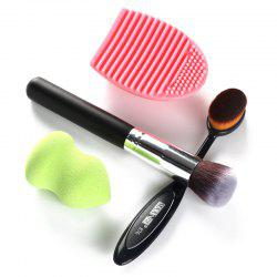 Stylish 4 Pcs/Set Blush Brush + Foundation Brush + Gourd Beauty Blender + Brush Egg - COLORMIX